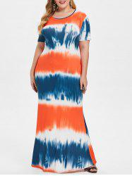 Round Neck Plus Size Tie Dye Maxi Dress -