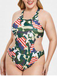 Cut Out Plus Size Camouflage Print Swimwear -
