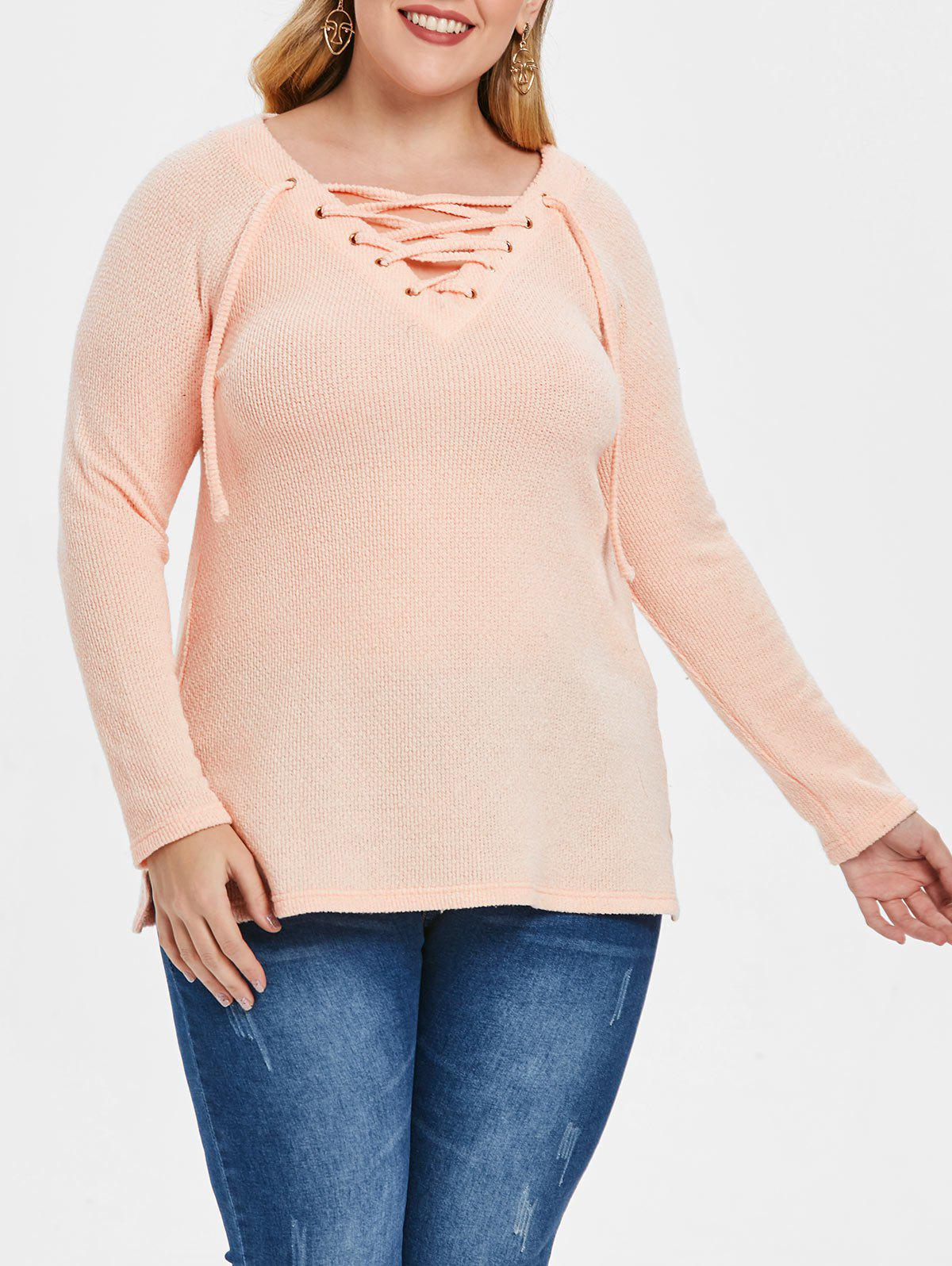 Outfit Plus Size Raglan Sleeve Lace Up Sweater