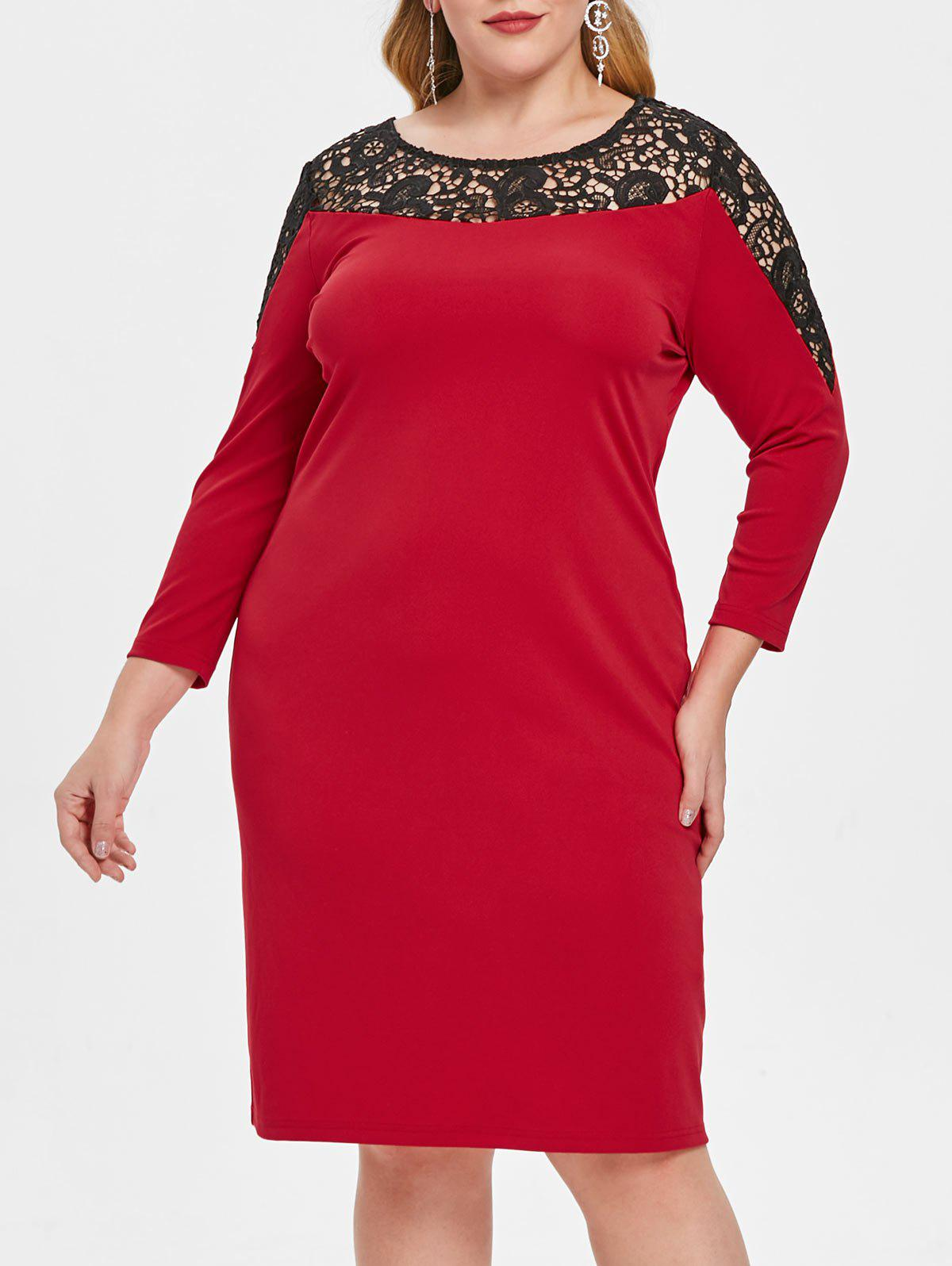 Buy Plus Size Lace Insert Hollow Out Bodycon Dress