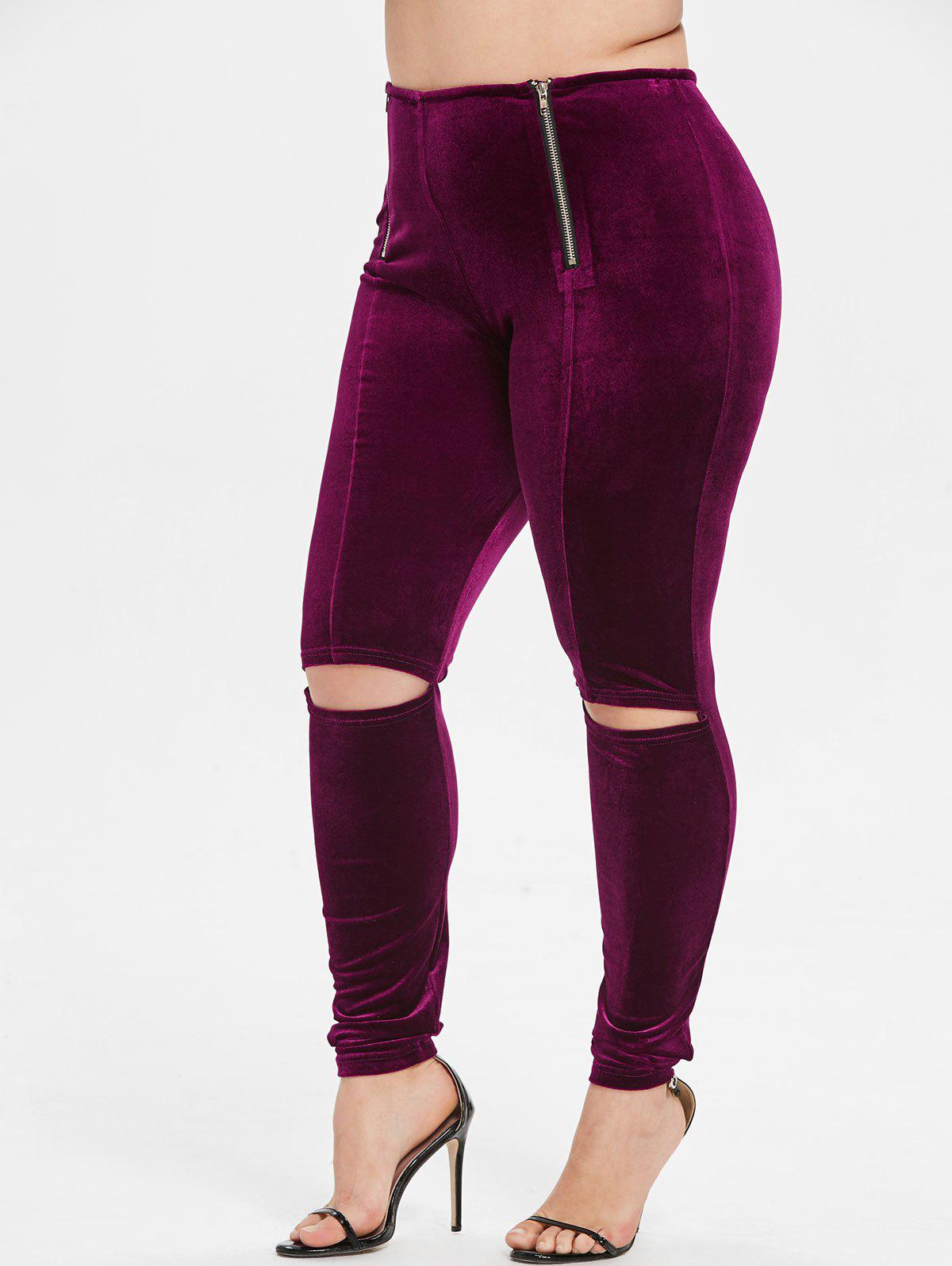Discount Plus Size Zip Ripped Velvet Leggings
