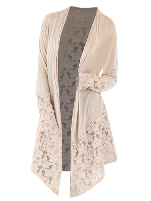 Affordable Collarless Plus Size Lace Panel Cardigan