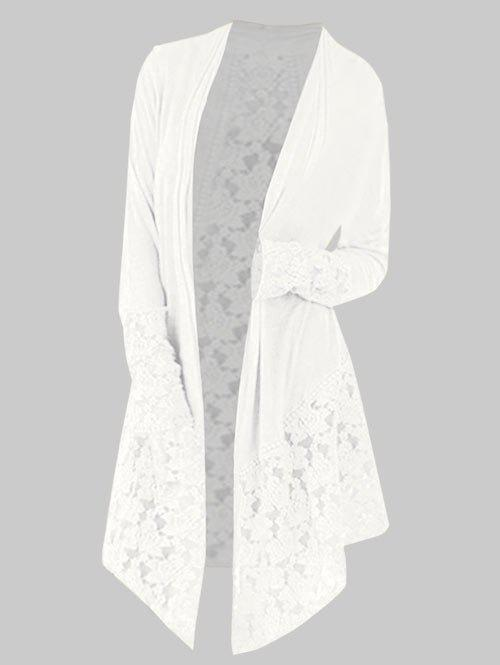 Store Collarless Plus Size Lace Panel Cardigan