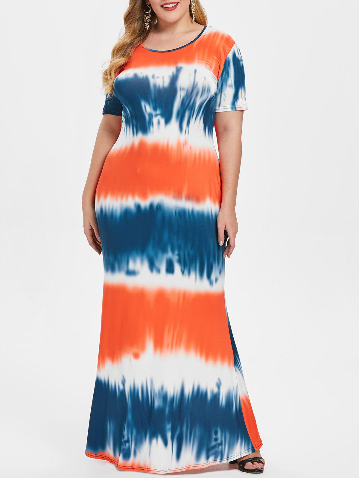 Affordable Round Neck Plus Size Tie Dye Maxi Dress