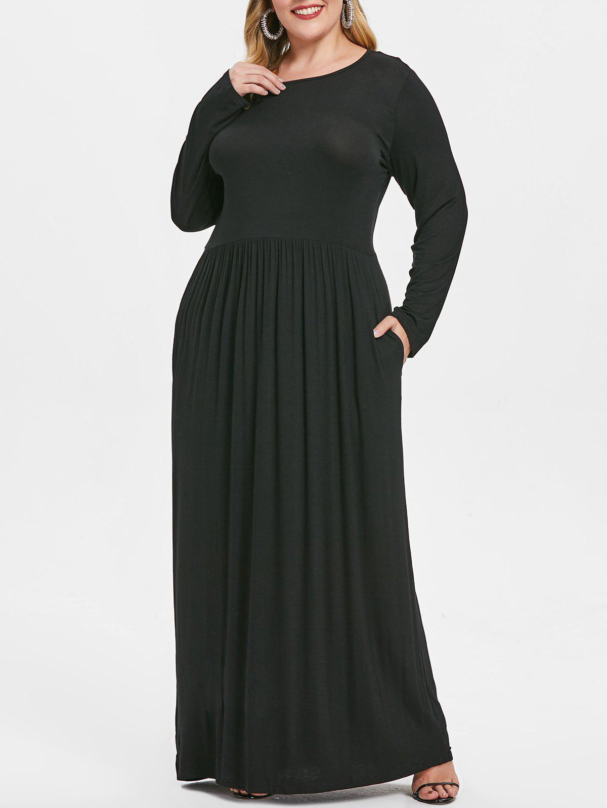 9b41f48bb7 26% OFF] Long Sleeve Elastic Waist Plus Size Maxi Dress | Rosegal