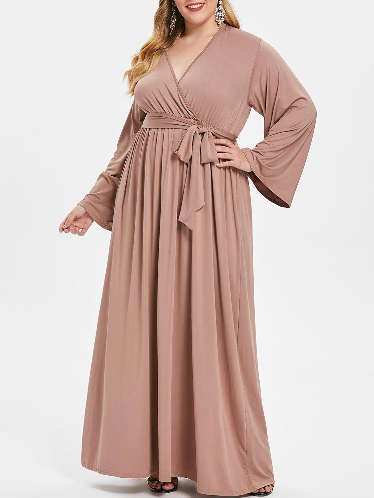 Unique Surplice Neck Plus Size Long Sleeve Maxi Dress with Belt