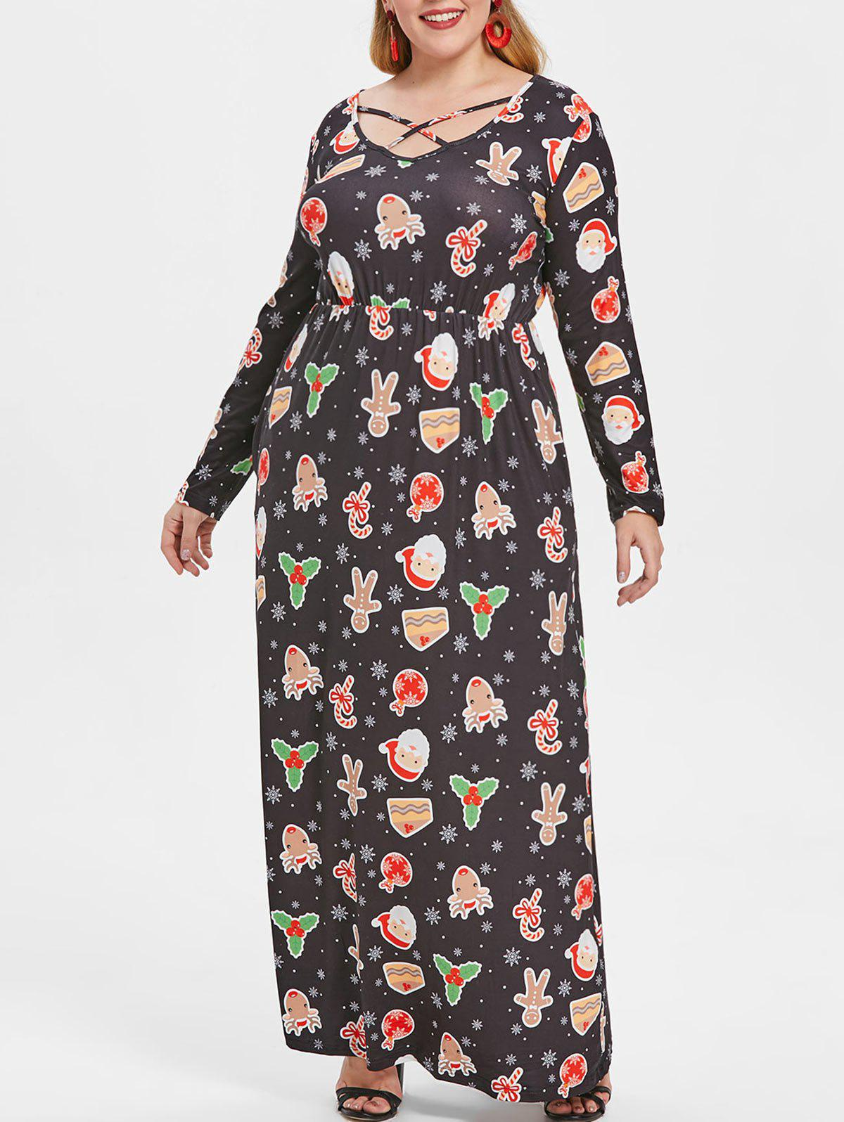 Store Plus Size Christmas Print Long Sleeve Maxi Dress