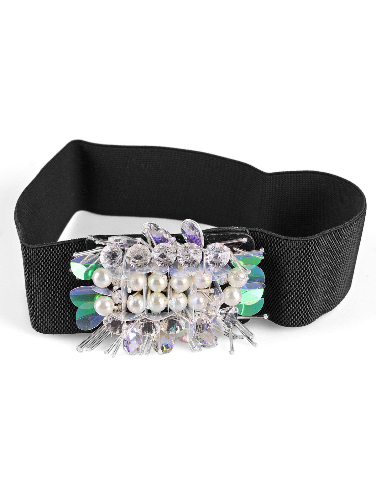 Unique Faux Pearl Decorative Elastic Wide Waist Belt