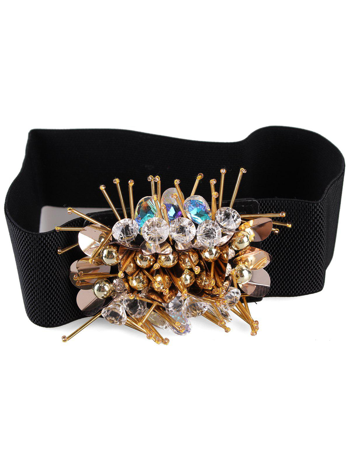Outfit Faux Pearl Decorative Elastic Wide Waist Belt