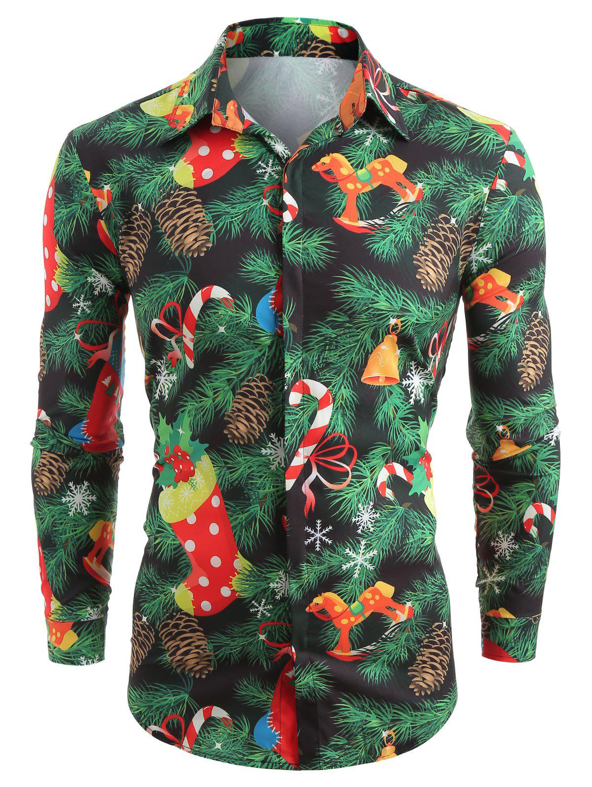 Store Christmas Theme Print Hidden Button Shirt