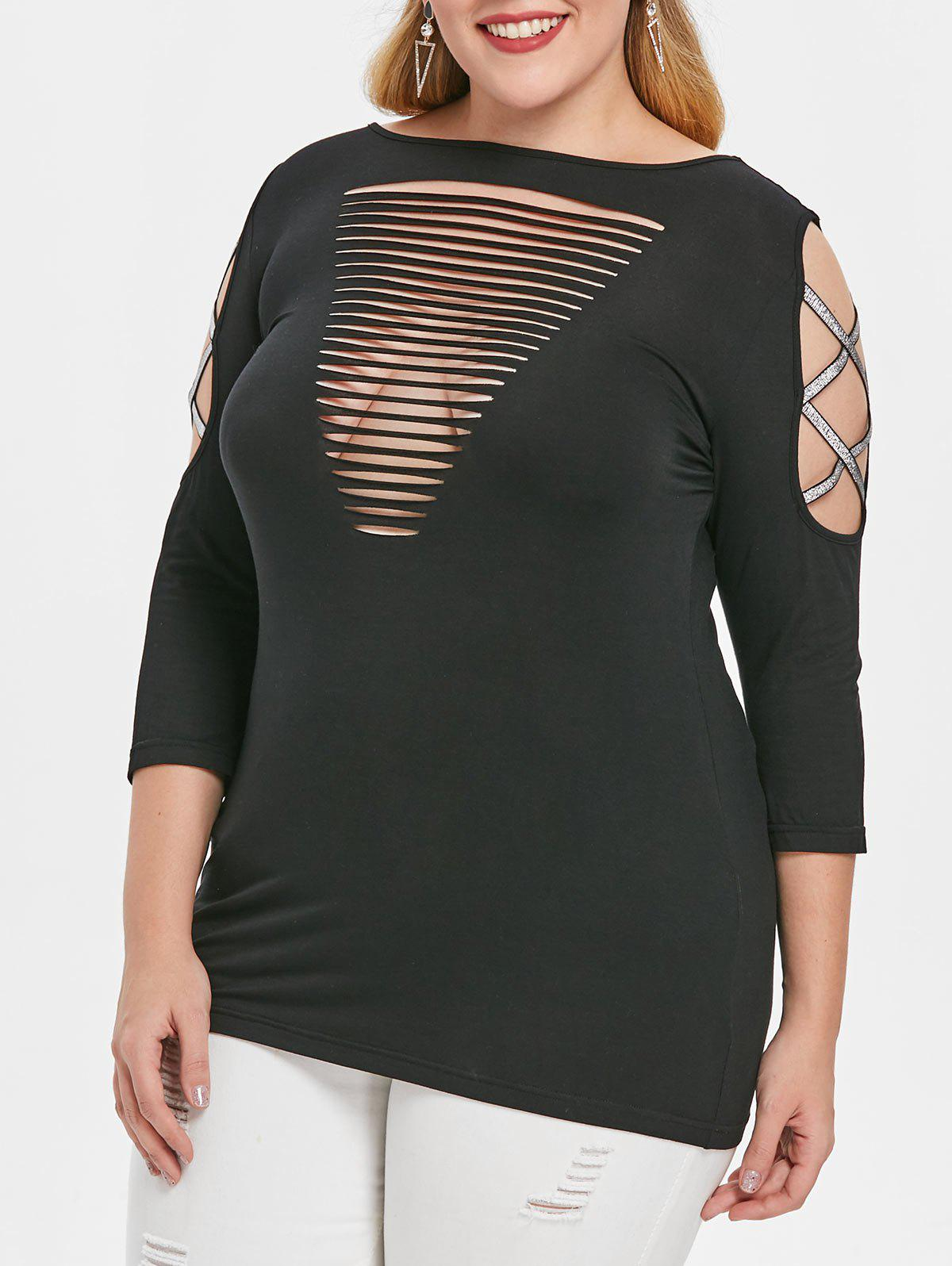 Shop Plus Size Cut Out Criss Cross Sleeve T-shirt