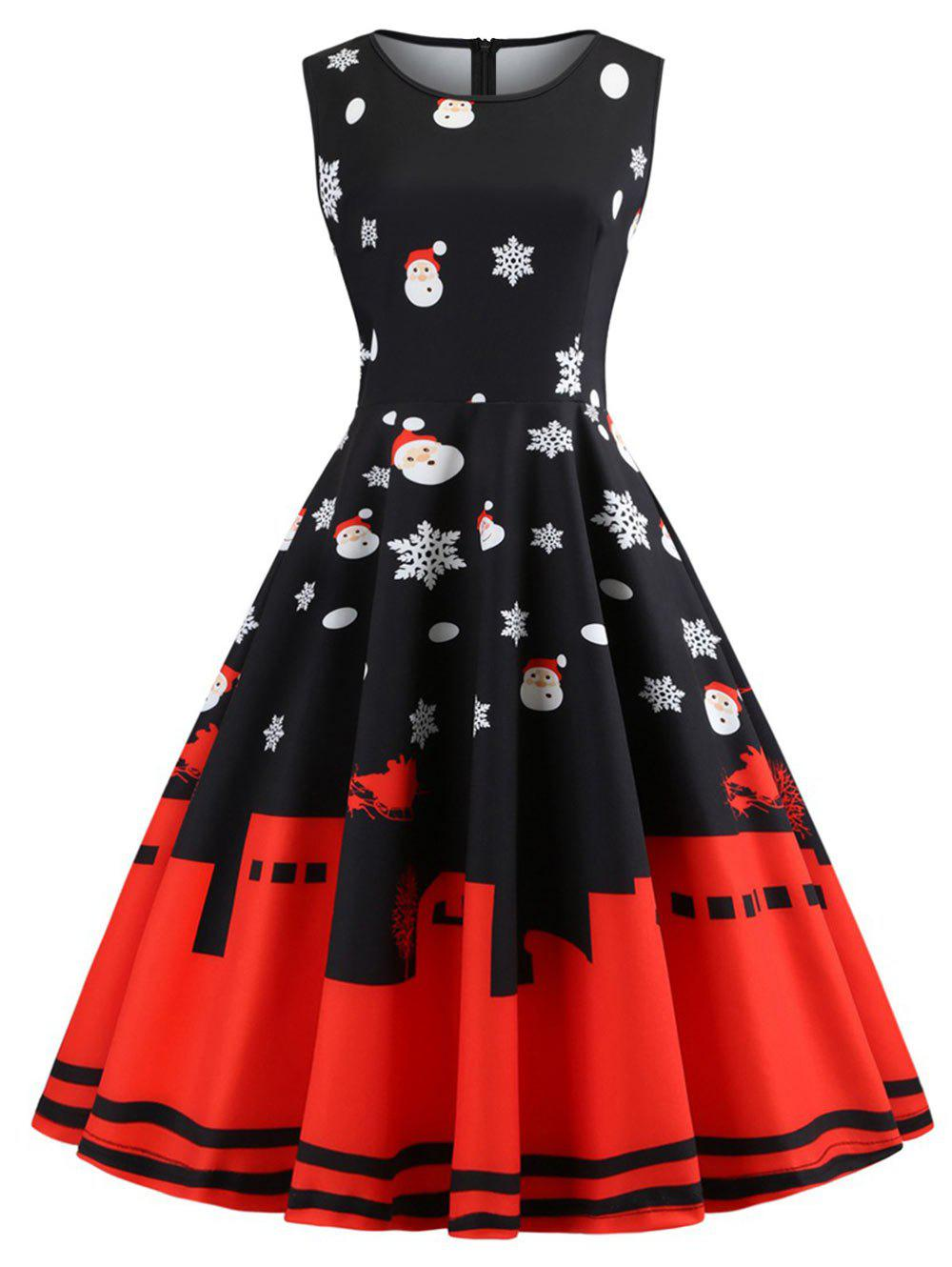 Hot Plus Size Vintage Christmas Printed Flare Dress