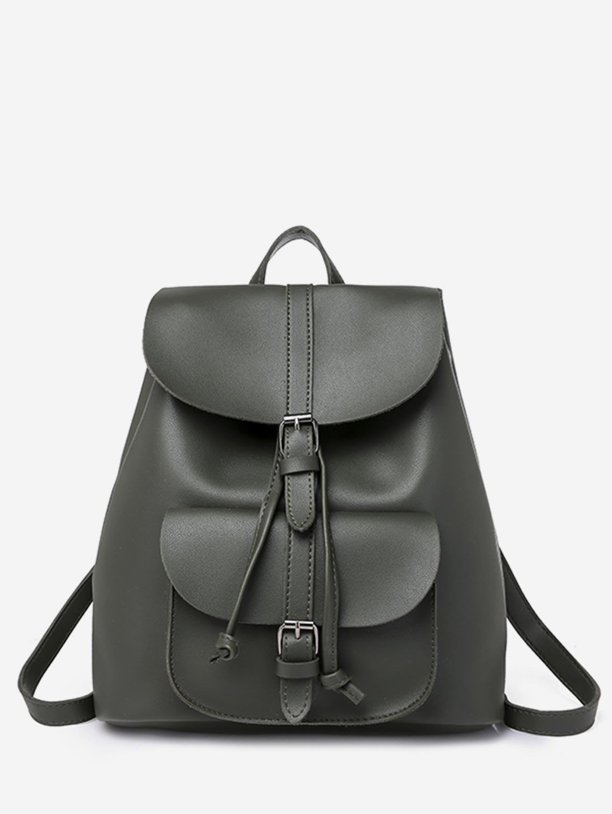 Sale Buckle Strap Drawstring PU Leather Backpack