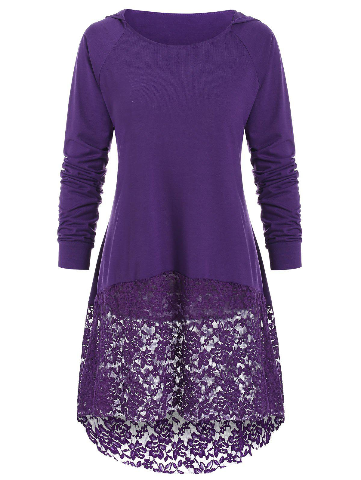 Store Round Neck Hooded Lace Insert Top