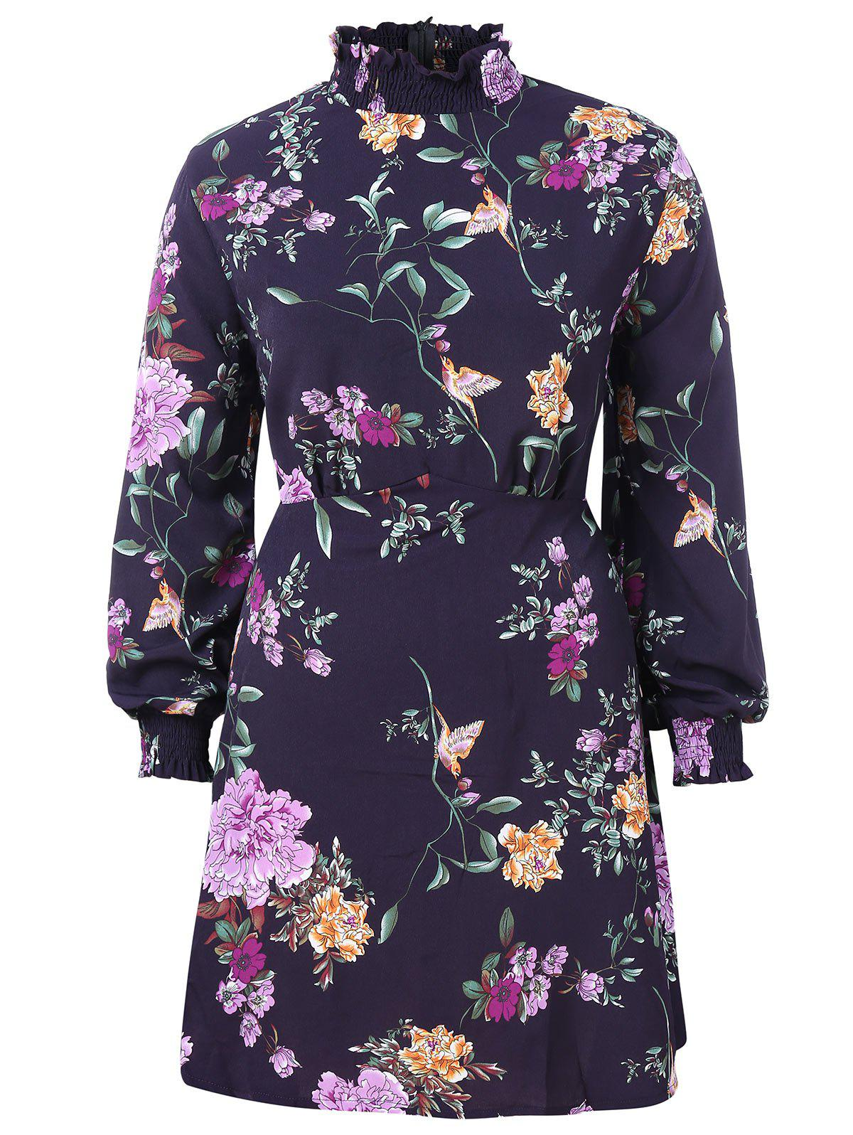 Outfits Ruffle Neck Plus Size Floral Print A Line Dress