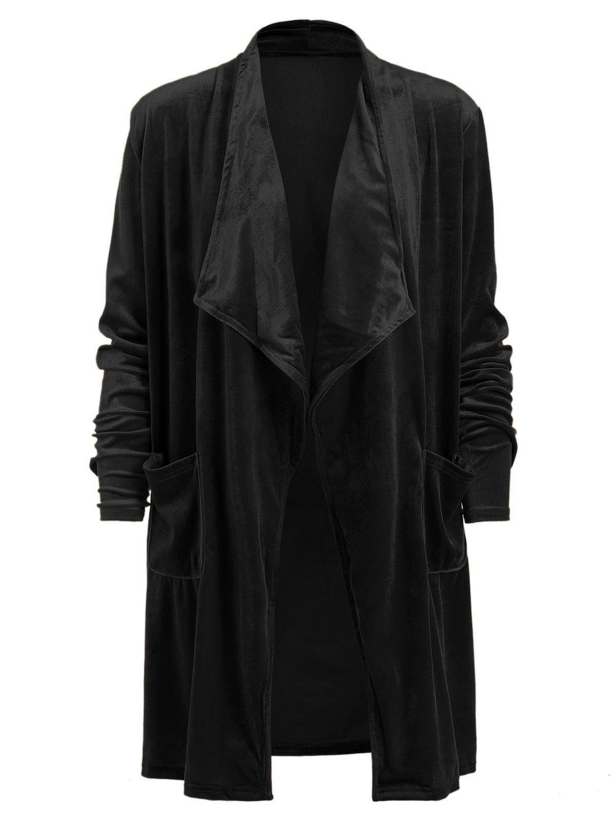 Buy Velour Drape Front Long Coat