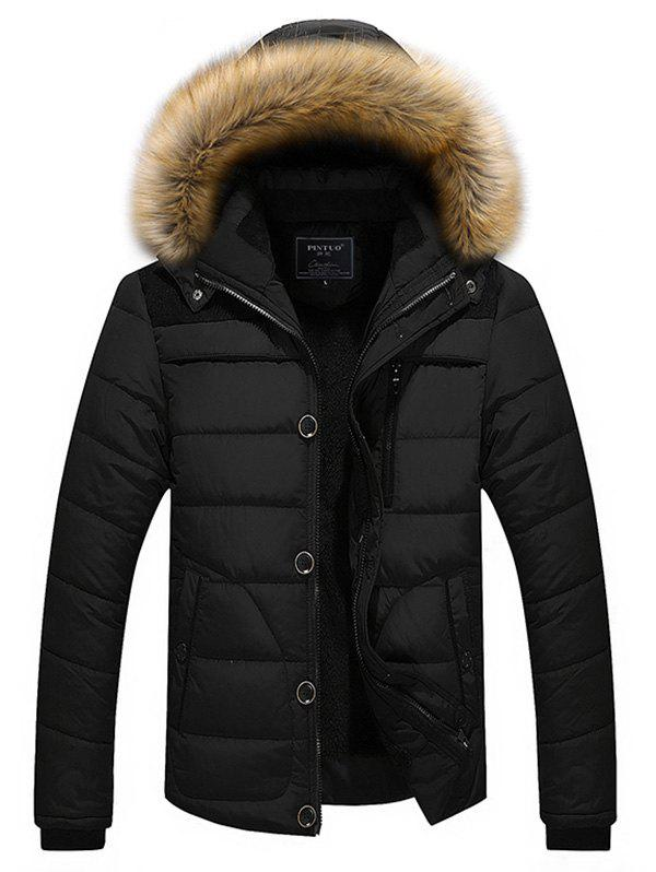 Trendy Faux Fur Hoodie Panel Parka Coat