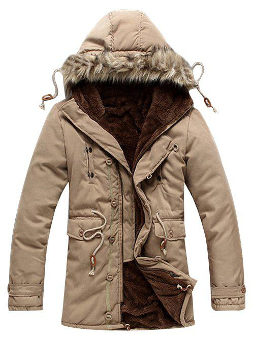 Fancy Drawstring Faux Fur Hoodie Parka Coat