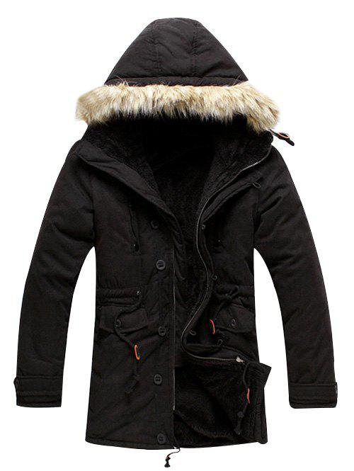 Fashion Drawstring Faux Fur Hoodie Parka Coat