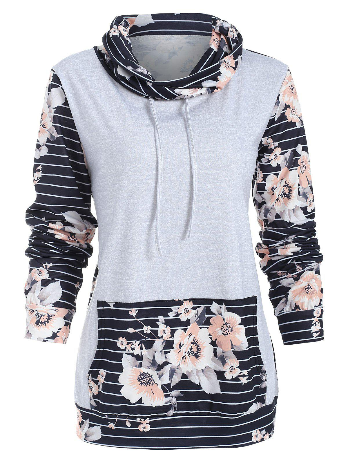 Sale Floral Panel Long Sleeve Striped Sweatshirt