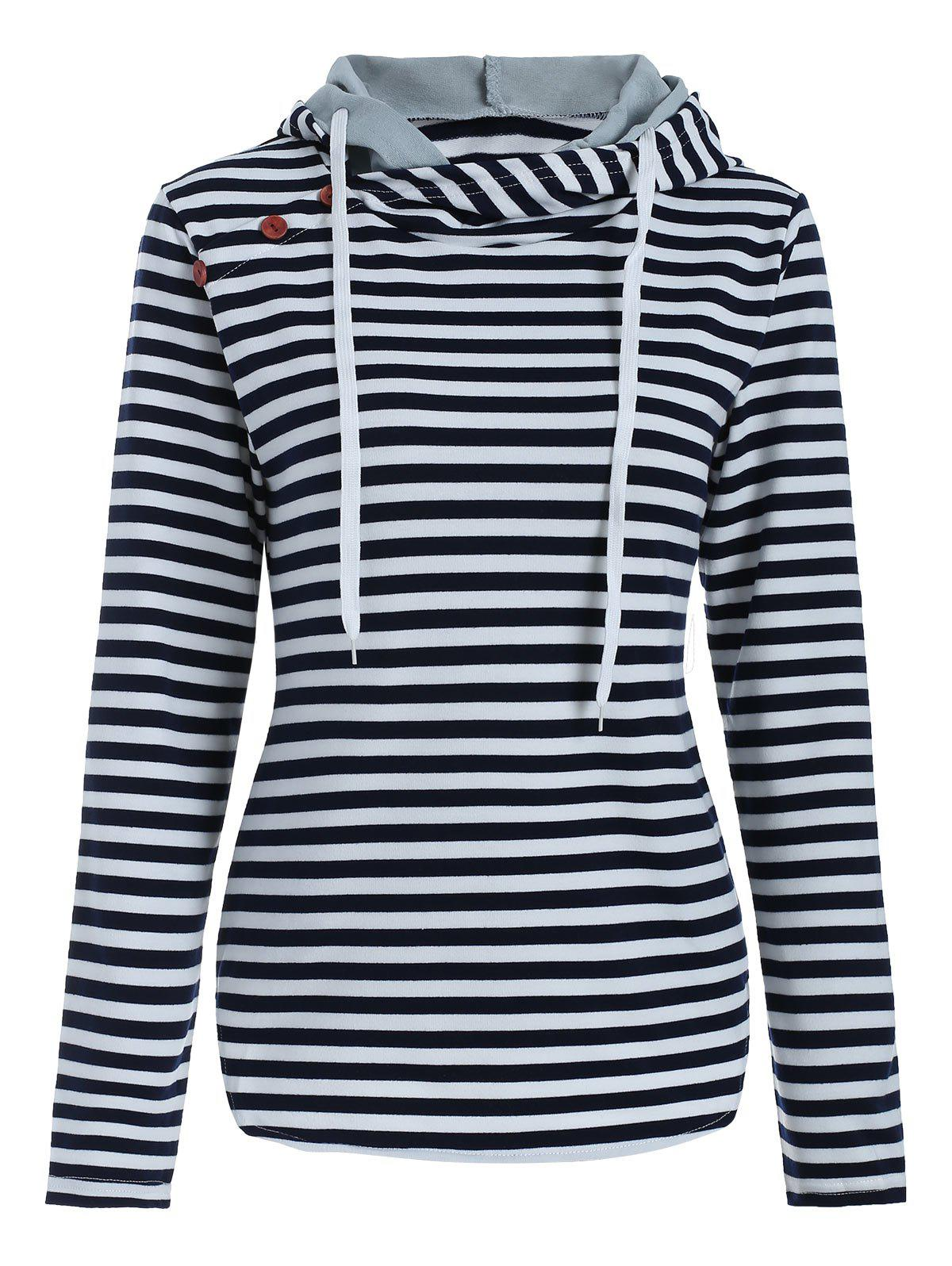 Unique Button Panel Striped Pullover Hoodie