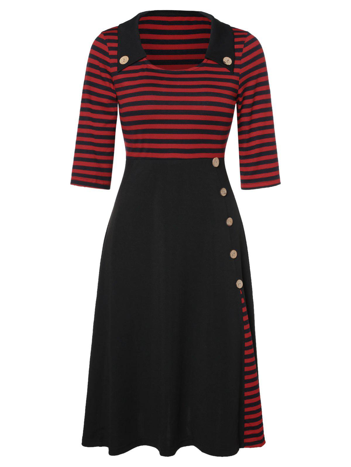 Outfit Empire Waist Stripe Panel Button Flare Dress