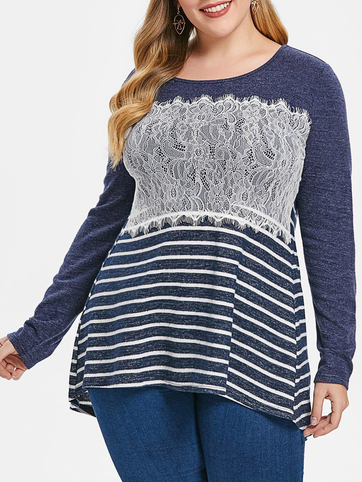Hot Plus Size Long Sleeves Lace Splicing Stripe High Low Tee