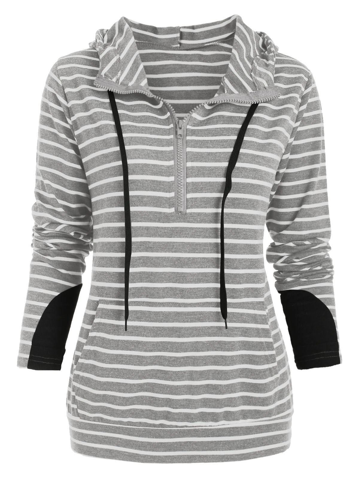 Fashion Half Zip Long Sleeve Striped Hoodie