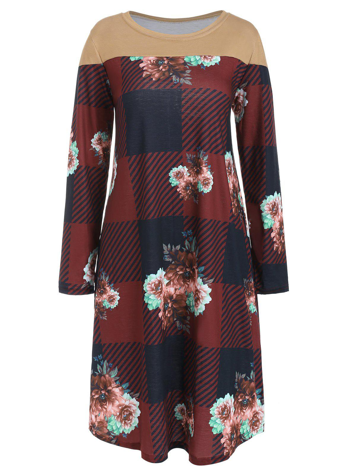 Affordable Checked Floral Print Long Sleeve Dress