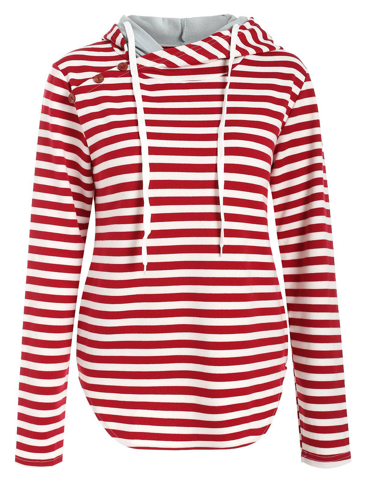 Chic Button Panel Striped Pullover Hoodie