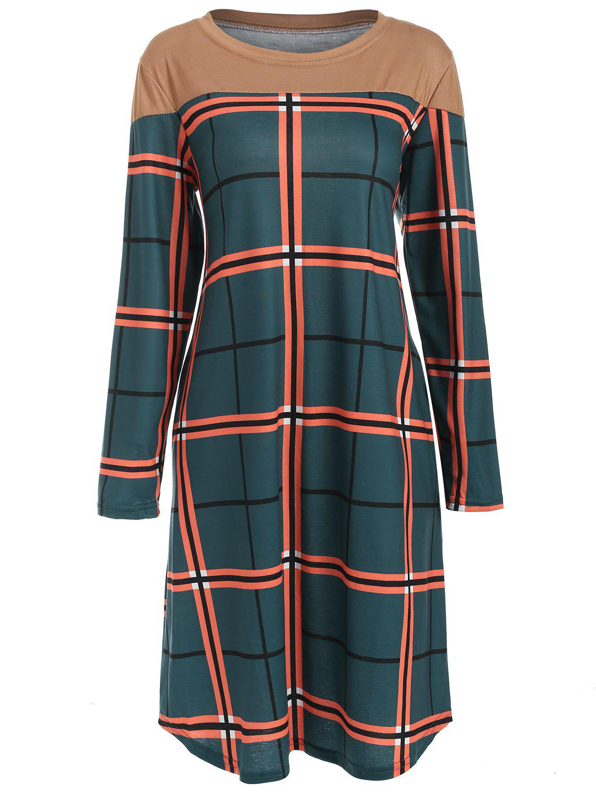Latest Round Neck Checked Casual Dress