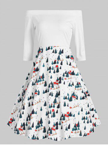 Christmas Print Off The Shoulder Vintage Dress