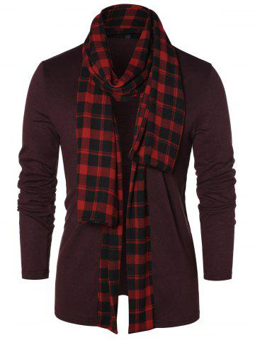 Checked Print Open Front Longline Cardigan