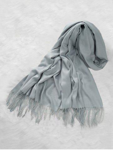Casual Solid Color Fringed Long Scarf