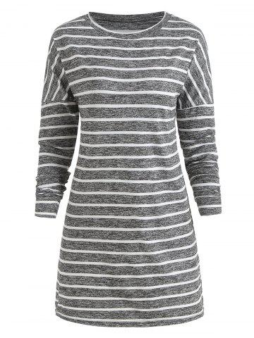 Long Sleeve Striped Print Casual Dress