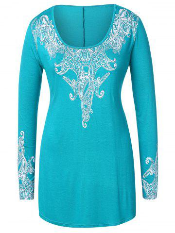 Plus Size Ethnic Print Long T-shirt