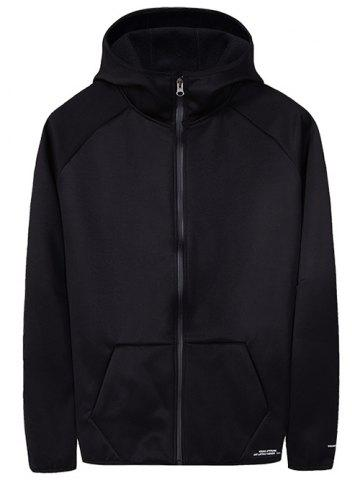 Solid Pocket Fleece Zipper Hooded Jacket