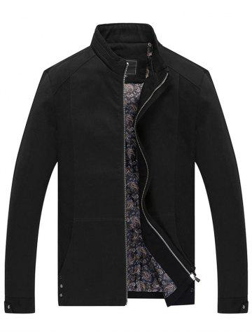 Casual Solid Pouch Pocket Zipper Up Jacket