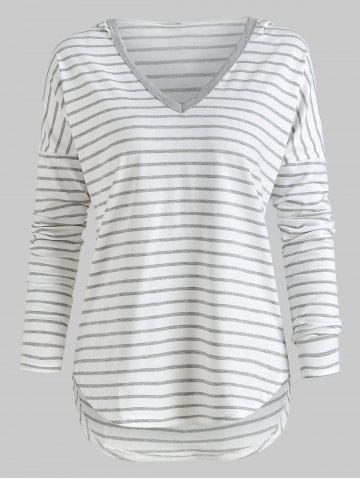 Hooded Drop Shoulder Striped T-shirt
