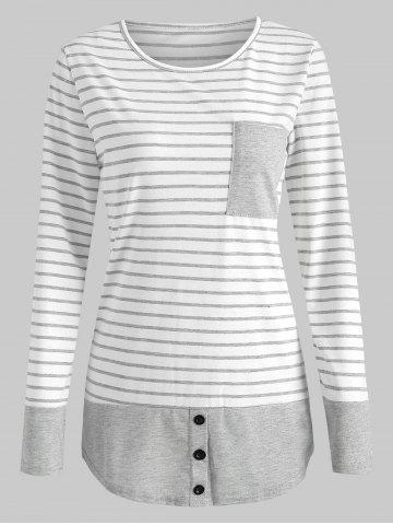Stripe Print Pocket T-shirt