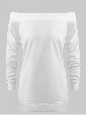 Off The Shoulder Drop Shoulder Tunic Sweatshirt