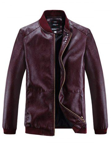 Solid Ribbed Edge Motor PU Jacket