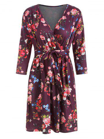 Wrap Long Sleeve Floral Print Dress