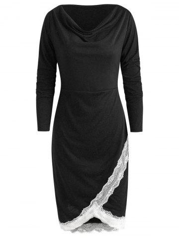 Long Sleeve Lace Trim Sheath Dress