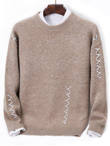 Contrast Zigzag Line Detail Knit Sweater - LIGHT BROWN - M