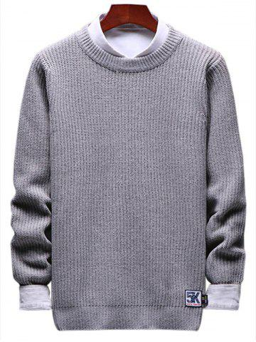 Solid Crewneck Patch Detail Pullover Knit Sweater - LIGHT GRAY - XS