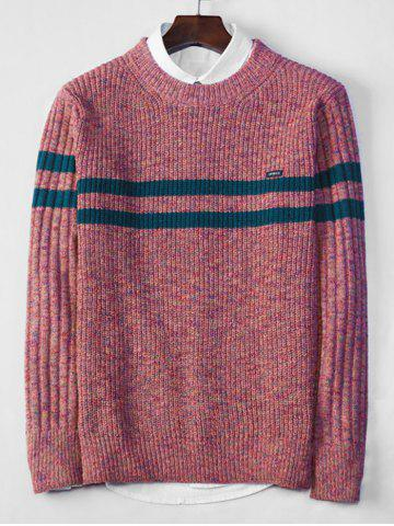 Cross Stripe Contrast Color Pullover Knit Sweater - BLUSH RED - S