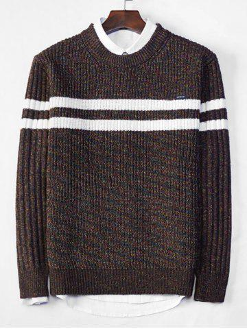Cross Stripe Contrast Color Pullover Knit Sweater - COFFEE - S