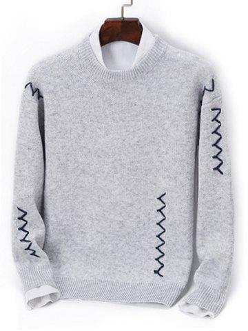 Contrast Zigzag Line Detail Knit Sweater - GRAY - XS