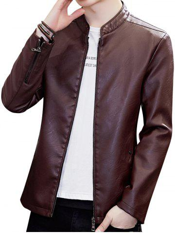 Stand Collar Zipper Faux Leather Jacket - RED WINE - XS